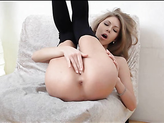 Sex appeal honey showing delights and caressing wet cunt