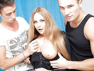 3 oversexed lads were bored as hell and wanted to fuck, so one of 'em went out to discover some chick. What a surprise, a cute neighbour of his was walking in the park, and that sweetheart assented to have a cup of tea with him! Looks like this hot blondie will be the star of an non-professional DP movie :) At first that sweetheart didn't wanna take part in real hard fuck, but did this sweetheart have any choice? The concupiscent fellows got her stripped in no time and made her do hard unfathomable face hole. Then it was time for real anal fucking, ...