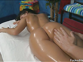 Marvelous 18 year old cuteie acquires fucked hard by her massage therapist