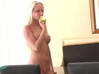Chick widens lengthy legs wide open and inserts toy in snatch