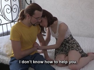 This nerdy fellow can't satisfy his girlfriend the one and the other financially and sexually. However, there is one way to solve these problems at once if that fellow lets her rich Internet ally fuck her for money. That Guy knows his chick wishes a good fuck and a fresh dress and even though watching her suck and ride that attractive lad's penis makes him desperately jealous this chab stays through the whole action to be there when this honey receives the not quite all amazing orgasm ever. Fucked up love as it is!
