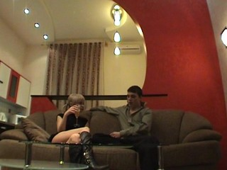Soft couch is being used by a legal age teenager honey as a location for a wild sex