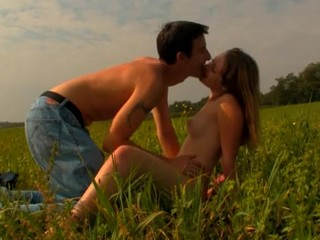 Find out the incredible sex with a golden-haired on a spacious field