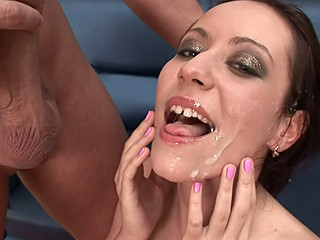 Super beautiful cuties getting tons of cum on their faces !