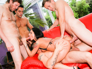 Nasty hot love tunnel get team-fucked hard in her wazoo by biggest dicks