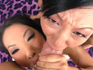 Asa Akira and Tia Ling one as well as the other drink performer's large ramrod.