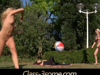 Two joyful blond teenies plays in the garden but at some point their ball rolls over the laying dick nearby. That pont of time the real play starts. The youthful golden-haired teenies ad the lascivious dick angages in a hardcore fuck