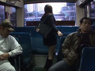 Legal Age Teenager Japanese school cutie with large boobs in uniform Yayoi Yoshino gets her shaved slit licked and stimulated by marital-aids in a gang group-sex session with plenty of turned on aged guys in the school bus during the time that this babe's manacled to the holding bar groaning