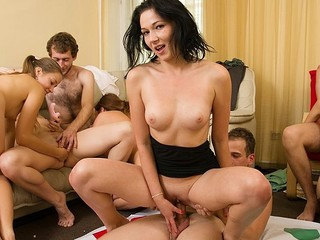 Lascivious students adore hot celebrations. They undress and plunge into sexual group orgy in sexy student sex party movie.